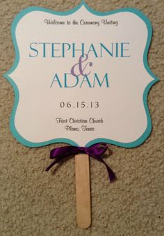 Two Sided Wedding Fan Program Turquoise And Purple