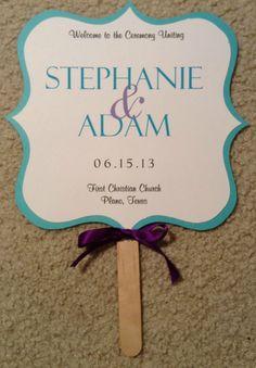 purple tiffany blue wedding   Two Sided Wedding Fan Program Tiffany Blue by invitationsbydannye
