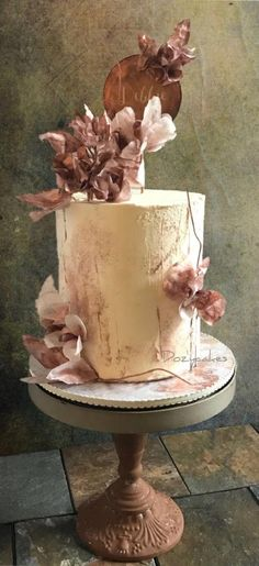 Copper Confection with Rustic Wafer Paper Flowers by Dozycakes