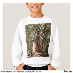Meerkat On Guard Duty, Kids White Sweatshirt