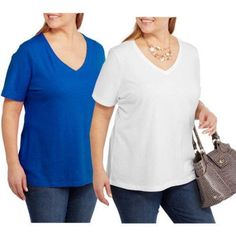 Faded Glory Women's Plus-Size Short Sleeve V-Neck Tee, 2-Pack Value Bundle, Size: 1XL, Multicolor