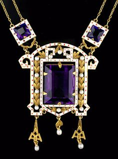 Victorian Renaissance Revival Amethyst, Seed Pearl, Enamel And Gold Necklace  c.1860-1885