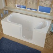 """MediTub 3060WILWH White 60"""" Fiberglass Whirlpool Walk In Tub for Alcove Installations with Left Drain, Drain Assembly, and Overflow Step In Bathtub, Walk In Bathtub, Bathtub Drain, Soaking Bathtubs, Walk In Shower, Jetted Bathtub, Handicap Bathtub, Walk In Tubs, Whirlpool Bathtub"""