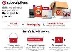 Wow! Target Subscriptions! 5% off + Free Shipping + Another 5% off with Red Card! Great way to save on diapers, toilet paper & more! - http://www.pinchingyourpennies.com/wow-target-subscriptions-5-free-shipping-another-5-red-card-great-way-save-diapers-toilet-paper/ #Freeshipping, #Subscriptions, #Target