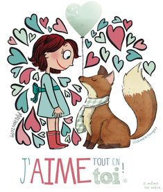 """""""I love everything about you"""" - I love this adorable print French Words, French Quotes, Jolie Phrase, Project Life Cards, Clever Quotes, Illustration Girl, Illustrations, Cute Drawings, Doodles"""