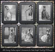 Want an 18th Century Fashion inspired Screensaver for your NOOK Simple Touch? Here are some gorgeous designs by EKDuncan! Instructions on how to customize your NOOK with these screensavers can be found here: http://www.ekduncan.com/2012/04/18th-century-fashion-screensavers-for.html# Enjoy!