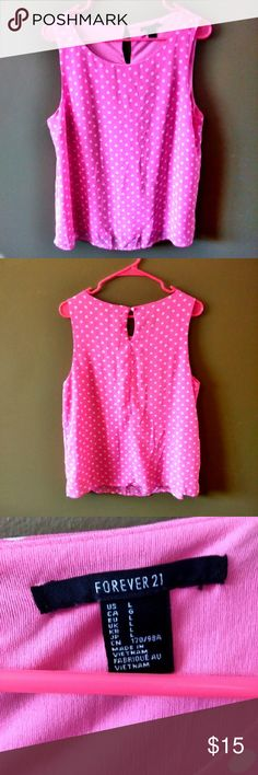 Forever 21 Pink Sleeveless Blouse L Polka Dots Bright Pink with white polka dots  Only wore once Size Large 100 percent Polyester Two layers to top, top layer sheer with the polka dots, inner layer solid pink Forever 21 Tops Blouses