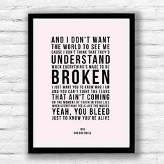 The Goo Dolls - Iris Song Lyrics Print, song lyrics poster, song lyric wall art You Lied, Music Lovers, Song Lyrics, Letter Board, Iris, Posters, Songs, Wall Art, Feelings