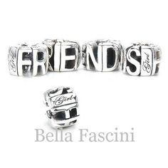 Amazon.com: Bella Fascini CIRCLE OF FRIENDS Word Charm - Solid Sterling Silver European Charm Bracelet Bead - Compatible Brand Bracelets : Authentic Pandora, Chamilia, Moress, Troll, Ohm, Zable, Biagi, Kay's Charmed Memories, Kohl's, Persona & more!: Jewelry