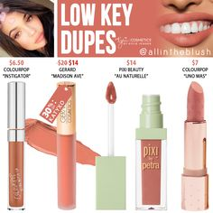 Kylie Cosmetics Low Key Velvet Liquid Lipstick Dupes - All In The Blush Skincare Dupes, Beauty Dupes, Drugstore Makeup Dupes, Skincare Routine, Beauty Makeup, Beauty Products, Lipstick For Fair Skin, Liquid Lipstick, Fall Lipstick