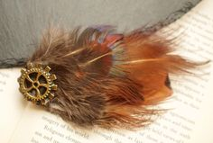 Steampunk Pheasant Feather Hair Clip with Gold Cogs Hipster Boho Wedding Alternative Fascinator by FindingUlysses on Etsy