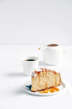 spiced pear cake with toffee sauce