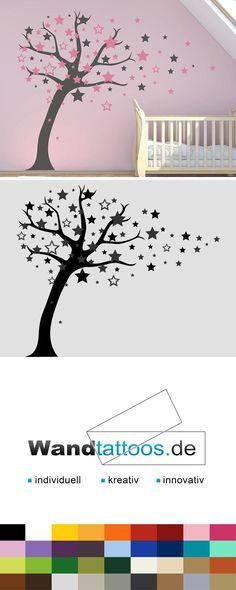 Wandtattoo Baum mit Sternen als Idee zur individuellen Wandgestaltung. Einfach Lieblingsfarbe und Größe auswählen. Weitere kreative Anregungen von Wandtattoos.de hier entdecken!