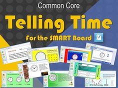 Common Core Telling Time Grades 1-3 for the SMART Board.  In this interactive SMART Board CCSS Telling Time lesson, students will be able to watch a YouTube video explaining how to tell time, use the SMART Board's interactive features to practice telling time in both analogue & digital formats, as well as be able to solve real-world problems & manipulate parts of a clock digitally! A Test Prep slide, Math Journal prompts, & a Scavenge Hunt for Clocks, also included.