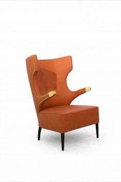 Sika is a deer specimen rooted in Japan whose strength and elegance inspired SIKA Armchair. The most distinctive features of this wing chair are the button detailing on the inner back, the nailhead trim and the brass details of the arms. That is why SIKA high-back chair fits a strong living room set.
