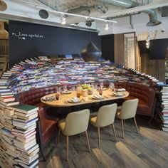 The Fable, London showcasing a quirky book themed table #HildenStyleAwards view their site here: http://www.thefablebar.co.uk/