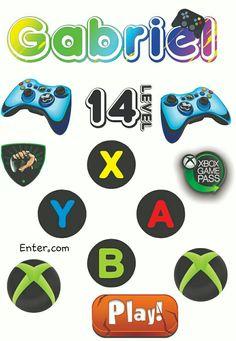 Bolo Xbox, X Games, Gabriel, Cake Toppers, Clip Art, Ideas, Xbox Party, Keys, Bunny