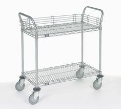 2 Shelf Utility Cart with Polyurethane Casters