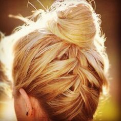 Underneath French braid with a bun on top - i wonder if i could do this on nat's hair for her recital.....