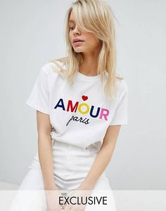 Buy Miss Selfridge Slogan Amour T-Shirt at ASOS. Get the latest trends with ASOS now. Momma Shirts, Cool T Shirts, Cute Shirt Designs, Asos, Girls Sweaters, Graphic Shirts, T Shirts For Women, Clothes For Women, My T Shirt