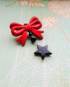 Cherry Red Bow Novelty Brooch, Costume Jewelry,Kitsch Brooch Pin,Cute Accessories,Red Bow With Black Beads And Heart Charm Novelty Brooch by RosieMays on Etsy