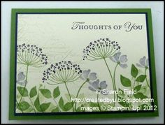 handmade card ...  summer silhouettes ... greens with touches of purple love the collage style stamping ...