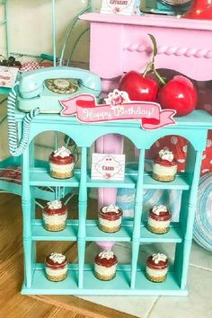 Take a look at this pretty shabby chic cherry-themed birthday party! The cupcakes are wonderful! See more party ideas and share yours at CatchMyParty.com #catchmyparty #partyideas #cherry #cherryparty #girlbirthdayparty #shabbychicparty #girlbirthdayparty #cupcakes