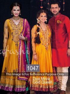 Diya Mirza Replica Yellow Suit From Skysarees