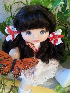 amber - my child doll brunette mid part charcoal make
