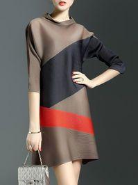 Shop Mini Dresses - Brown Crew Neck Color-block A-line Simple Mini Dress online. Casual Formal Dresses, Short Dresses, Mini Dresses, Hijab Fashion, Fashion Dresses, Fashion Clothes, Colorblock Dress, Look Chic, Mantel