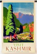 India Original Vintage Travel Poster Kashmir sheep