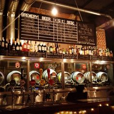 Love this idea of the kegs being the back splash for the beer tap handles. Brewery Interior, Pub Interior, Brewery Design, Pub Design, Pub Bar, Cafe Bar, Beer Factory, Brew Bar, Beer Shop