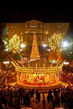 Syntagma square in Athens with a Christmas Carousel, Greece