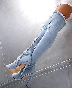 HOHE OVERKNEE STIEFEL Stretch Damen NEU 2018 Jeans Boots Q49 Schuhe High Heels #highheelbootslatex