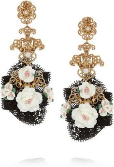 Dolce and Gabbana Gold-Tone Resin Flower Clip Earrings Filigree Jewelry 10d83204677