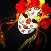 DIY Dia De Los Muertos Day Of The Dead Flower Head Mask SUGAR SKULL