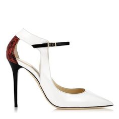 Mystic White, Flame and Black Patent and Gloss Elaphe Pointy Toe Pumps