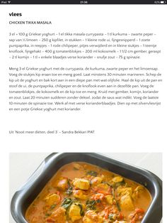 Chicken tikka masala sana Clean Eating Recipes, Healthy Eating, Cooking Recipes, Healthy Recipes, I Love Food, Good Food, Yummy Food, Happy Foods, Chicken Recipes