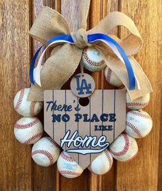 LA Dodgers Baseball Wreath by DoorsGoneWild on Etsy https://www.etsy.com/listing/481921694/la-dodgers-baseball-wreath