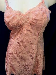 a779f05d1 Vintage Victoria's Secret M Peach Satin Jacquard Lace Bias Cut Babydoll  Chemise | eBay Vintage Lingerie