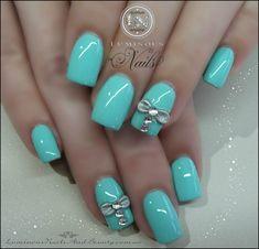 Luminous Nails: Aqua Blue Nails with Silver Bows & Crystals...
