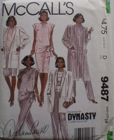 1980's Dynasty Sewing Pattern - Women's Coat, Blouse, Skirt and Pants - McCall's 9487 - Size 14, Bust 36, Uncut by Shelleyville on Etsy