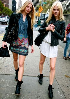 Dresses, leather jackets, booties.