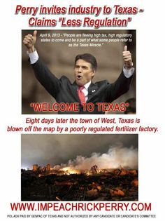 """Those nursing home residents and elementary school children weren't asking to be part of the unregulated """"Texas Miracle"""" they were just innocent residents of West, Texas, who had to flee a terrible, preventable industrial accident. Regulating businesses PREVENTS tragedies like explosions that force evacuations, kill & wound people, traumatize first responders and survivors, destroy homes etc etc."""