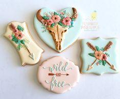 Boho cookies, wedding cookies, country cookies, rustic cookies, tribal cookies