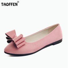 673de495a TAOFFEN Lady Flats Shoes Women Pointed Toe Flower Embroidery Flat Shoe  Daily Work School Soft Female Footwear Size 35-39