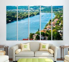Top of Mount Bonnell Overlooking Colorful Mansions on West Lake Austin Texas large Houses along Colorado River Pennybacker Bridge Background by ArtWog Office Wall Decor, Office Walls, Lake Austin Texas, Jesus Painting, Thing 1, Austin Homes, Colorado River, West Lake, Rest Of The World