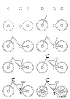 Drawing bicycle: Learn how to draw a bicycle with simple step by step instructions. The Drawbot also has plenty of drawing and coloring pages! Drawing Lessons, Drawing Techniques, Doodle Drawings, Easy Drawings, Doodle Art, Bicycle Drawing, Bicycle Art, Bicycle Design, Bicycle Painting