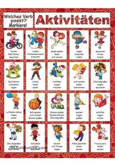 Aktivitäten Simple selection test for beginners. (Meant for children) – DaF. Study German, Learn German, Learn English, German Grammar, German Words, Creative Activities For Toddlers, German Resources, Deutsch Language, Germany Language