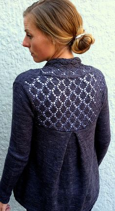 Pretty lace panels and a back pleat make for a classic and feminine cardigan. Ravelry: Watson pattern by Amy Miller Love Knitting, Hand Knitting, Knitting Patterns, Crochet Patterns, Jumper Patterns, Pull Crochet, Pulls, Knitting Projects, Knitwear